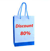 The Shopping bag for discount 80% isolated on white background — Stock Photo