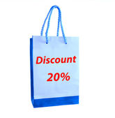 The Shopping bag for discount 20% isolated on white background — Stock Photo