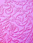 The Purple stucco design of native thai style on the Wall — Stock Photo