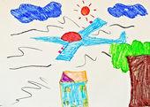 5 岁以下的儿童画 — 图库照片