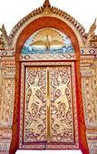 The Thai style Buddhist church door — Stock Photo
