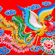 The Colorful of phoenix on wall of  joss house — Stock Photo