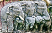 The Sculpture of cement of elephant family — Stock Photo