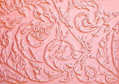 The Pink stucco design of native thai style on the Wall — Stock Photo