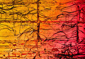 The Abstract brick wall and tree roots background — Stock Photo