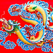 The Colorful of dragon on wall of  joss house — Foto Stock