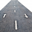 Stockfoto: White arrow forward and backward on asphalt road isolated o