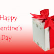 The Gift box for valentine's day isolated pink and white background — Stock Photo