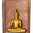 The Old wooden frame with buddha status isolated on white backg — Stock Photo #11739389