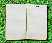 The Vintage notebook isolated on green grass background — Stock Photo