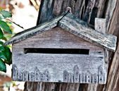 The Old wooden mailbox — Stock Photo