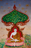 The Thai painting art about buddha status on wall of the temple — Stock Photo