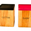 Royalty-Free Stock Photo: The Storage wooden box of  coffee and sugar  isolated on white backgrounde b