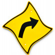 Stock Photo: Guide post of turn right