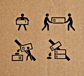 The Brown corrugated cardboard show lift object to be careful — Stock Photo