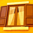 Stock Photo: Old window on yellow wall background
