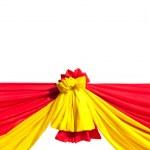 červené a žluté pásky izolovaných na bílém pozadí — Stock fotografie