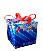 The Gift box with red ribbon isolated on white background — Стоковое фото