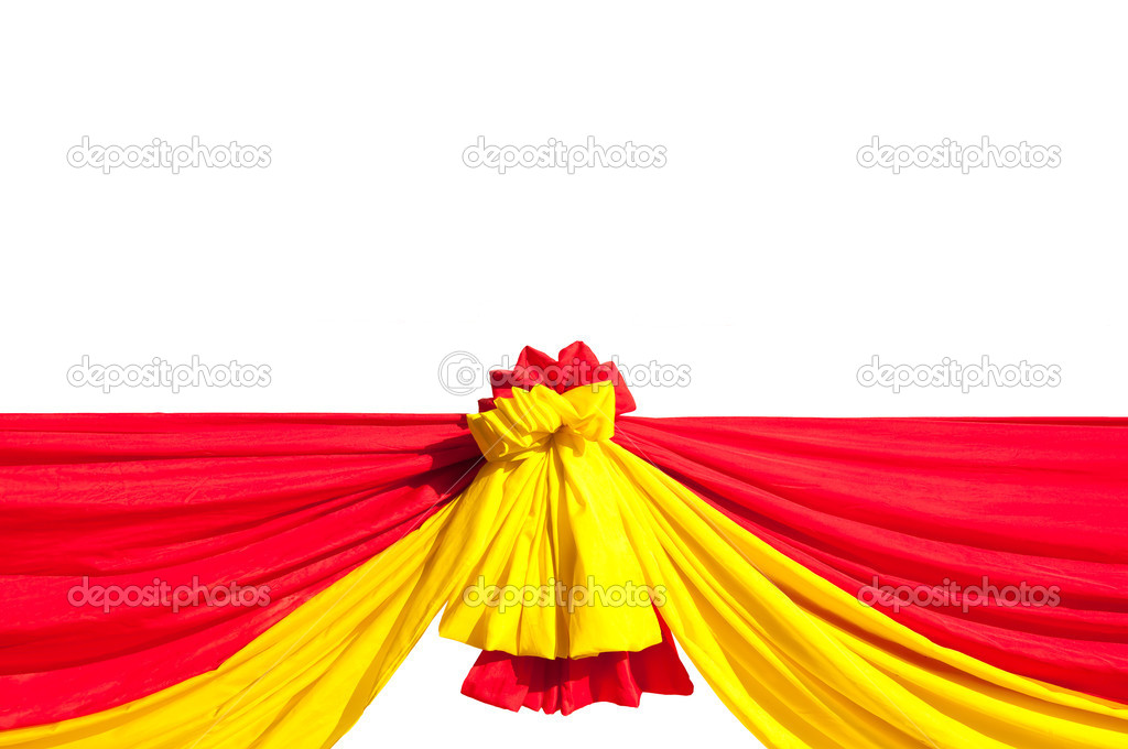The Red and yellow ribbon isolated on white background — Stock Photo #11948417
