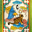 The Colorful of old painting on wall in joss house — Stock Photo #12096209