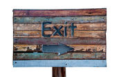 The Sign wooden of exit way isolated on white background — Stock Photo