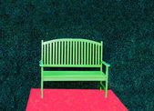 The Green bench with red heart background — Stock Photo