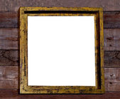 The Blank wooden frame on wood wall — Stock Photo
