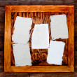 Blank paper on wooden board — Stock Photo