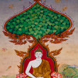 The Thai painting art  about buddha status on wall of the temple - Stock Photo