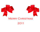 The Red ribbon on merry christmas 2011 — Stock Photo