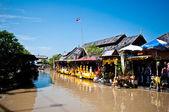 The Floating market on blue sky background — Stock Photo