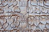 Het hout gravure van patroon blad poh boom — Stockfoto