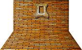 перспективный вид стены с старинная рамка — Стоковое фото