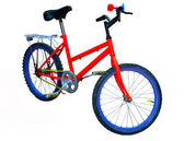 The Red bicycle with blue wheels isolated on white background — Stock Photo