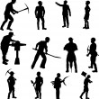 Stock Vector: Construction Worker Silhouettes