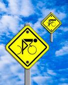 Bike icon in traffic plate. — Stock Photo