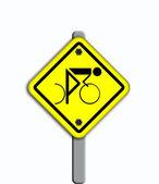 Bike icon in traffic plate. — Foto de Stock