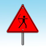Archery icon in traffic plate. — Photo