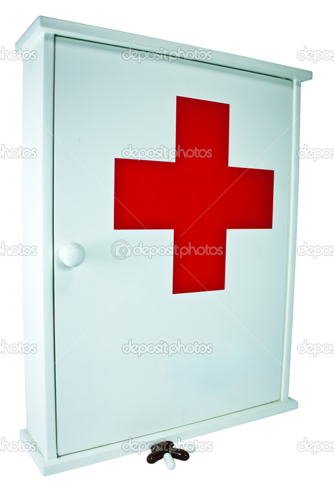 Medicine box and put the pill in front of the cabinet. — Stock Photo #11636366