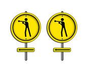 Icono del boxeo en placa de tráfico. — Foto de Stock