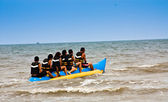 Banana boat in sea — Stock Photo