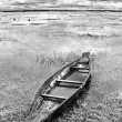 Abandoned native Thai style wood boat in black and white — Stock Photo