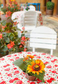 Fake flowers on table in coffee shop — Stock Photo