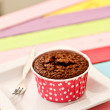 Brownie in red cup — Stock Photo