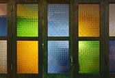 Thai style colorful glass door — Stock Photo