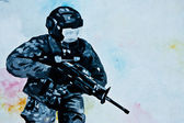 Painting of soldier on concrete wall — Stock Photo