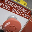 Emergency fuel shut off red and white — Stock Photo