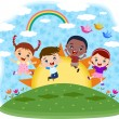 Multicultural children jumping on the hill — Vector de stock