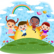 Multicultural children jumping on the hill — Stock Vector