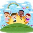 多元文化儿童跳上小山 — 图库矢量图片